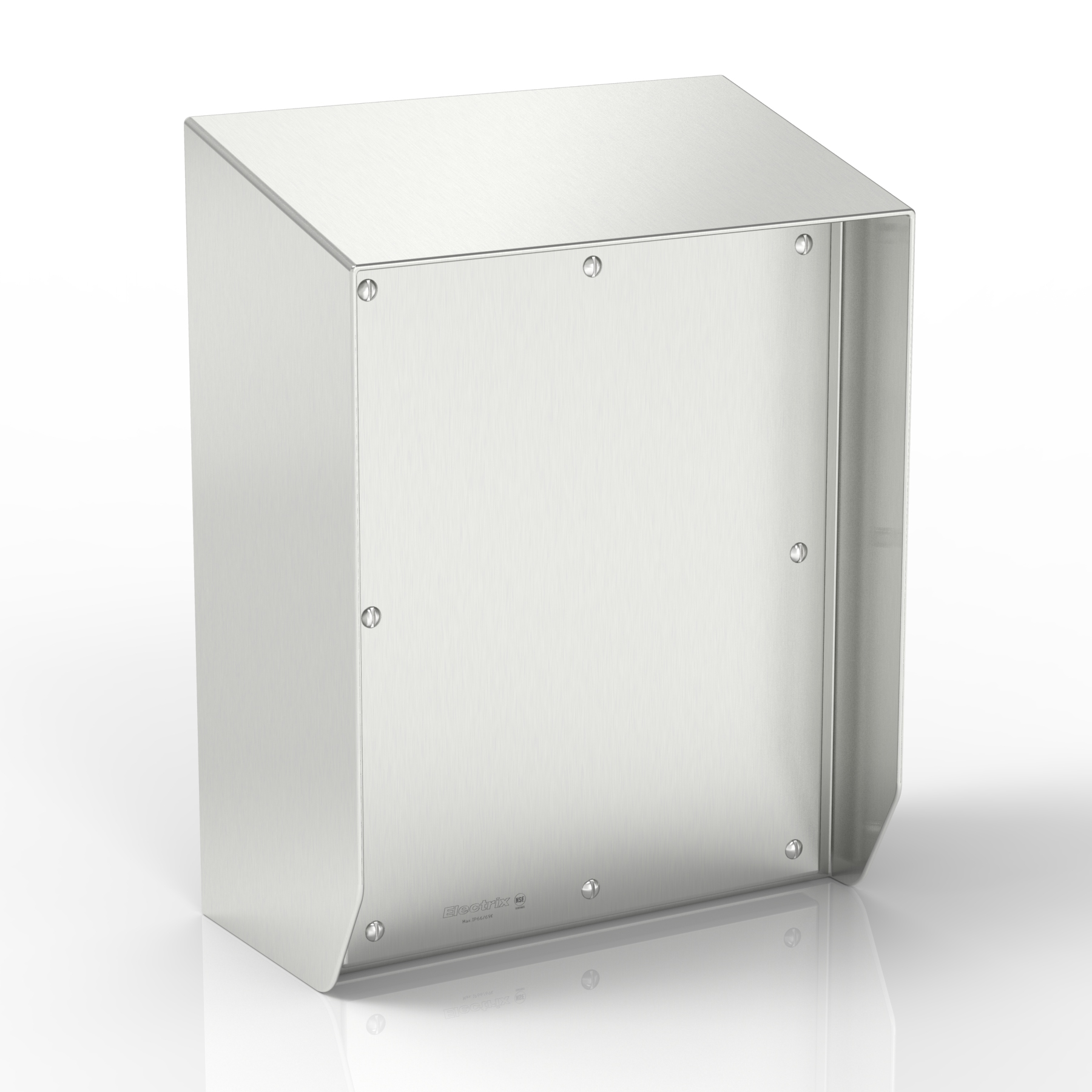 SR15-TCE80-S316 | WASHDOWNPRO IP69K 15° Sloping Roof Terminal & Control Enclosure with Removable Stand-Off Mounting Pillars