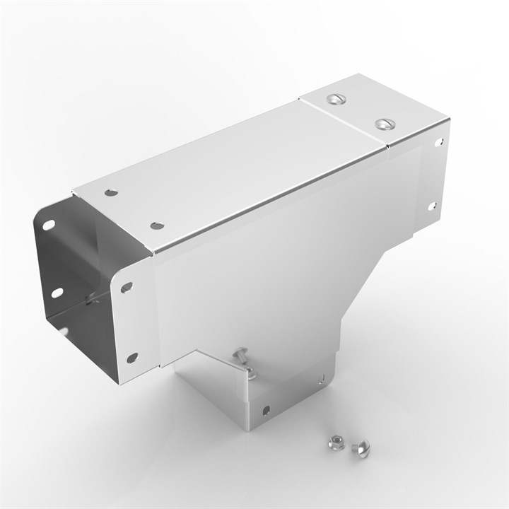 P14 150-150 | Flat Lid Trunking 90° Outside Lid Gusset Tee