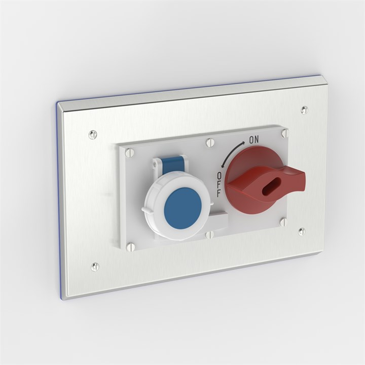 PH-SOC-B S316 | Flush Mounted Pharma Enclosure with Interlocked Switch & Socket
