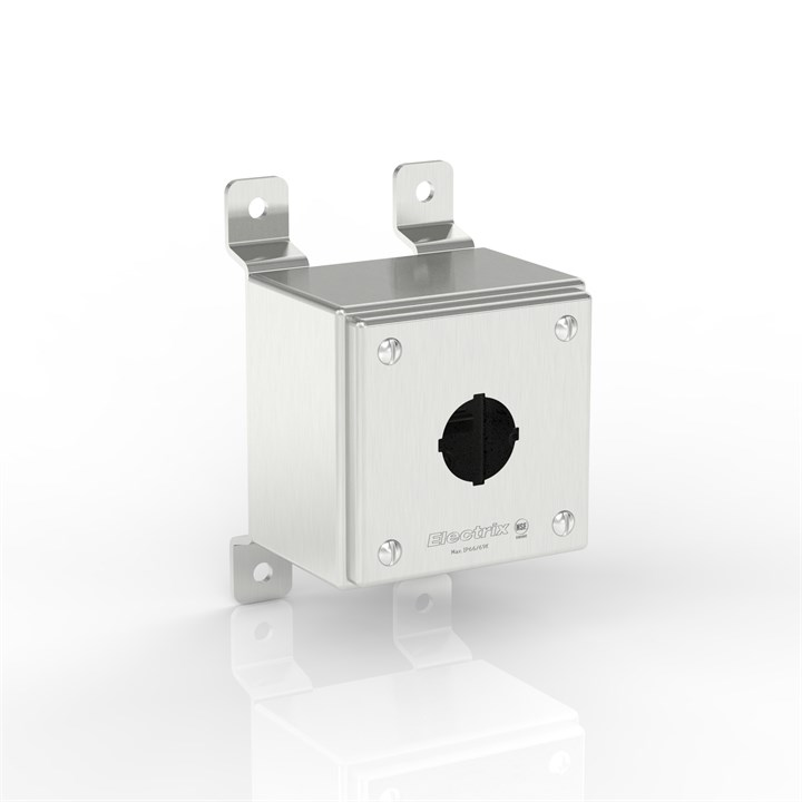 SL-PB1-S316-30.5 BKZ | WASHDOWNPRO IP69K / Type 4X Slimline Push-Button Enclosure with Stand-Off Mounting Bracket