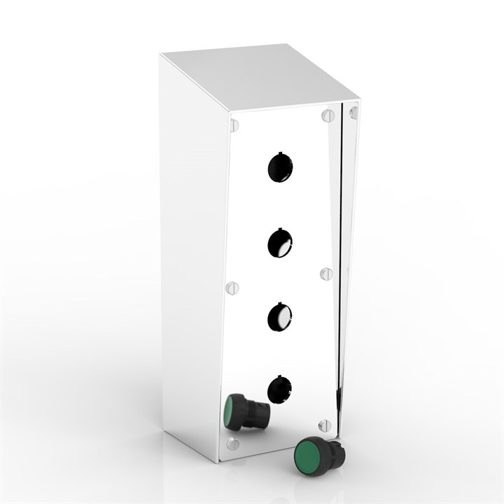 SR-PB4/1-P | 15° Sloping Roof Push-Button Enclosure