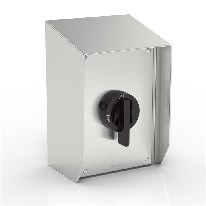 SR15-KT63X1-S316-BH-LT | WASHDOWNPRO IP69K 15° Sloping Roof Rotary Isolator Enclosure with Katko switch (Black Handle)