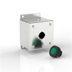 EPB1-S316-22.5 BK | Compact Push-Button Enclosure with Flat Mounting Bracket
