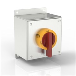 SL-KT40X1-S316 BK | Slimline Rotary Motor Disconnect Switch Enclosure with IP69K Handle and Flat Mounting Bracket