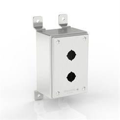 SL-PB2-S316-22.5 BKZ | Slimline Push-Button Enclosure with Stand-Off Mounting Bracket