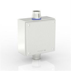 "SL-XTCE-SQ-C1/0-S316 | Slimline Terminal Box (C - Through) with 2 x 1"" Ø Holes and Removable Stand-Off Mounting Pillars"