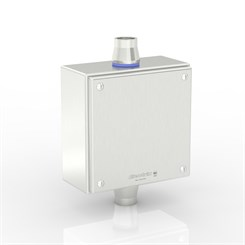 "SL-XTCE-SQ-C3/4-S316 | Slimline Terminal Box (C - Through) with 2 x 3/4"" Ø Holes and Removable Stand-Off Mounting Pillars"