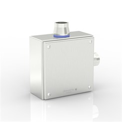 "SL-XTCE-SQ-L1/0-S316 | Slimline Terminal Box (L - Angle) with 2 x 1"" Ø Holes and Removable Stand-Off Mounting Pillars"