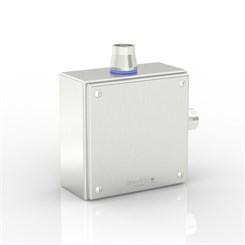"SL-XTCE-SQ-L3/4-S316 | Slimline Terminal Box (L - Angle) with 2 x 3/4"" Ø Holes and Removable Stand-Off Mounting Pillars"