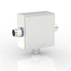 "SL-XTCE-SQ-T1/0-S316 | Slimline Terminal Box (T - Tee) with 3 x 1"" Ø Holes and Removable Stand-Off Mounting Pillars"