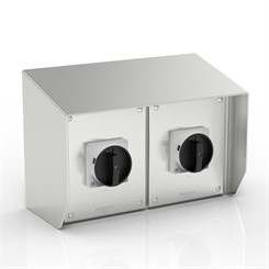 SR15-AB32X2-S316-BH-LT | WASHDOWNPRO IP66 15° Sloping Roof Rotary Isolator Enclosure with Allen-Bradley switches (Black Handles)