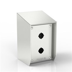 SR15-PB2-S316-22.5 | 15° Sloped Top Push-Button Enclosure with removable Stand-Off Mounting Pillars