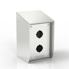 SR15-PB2-S316-30.5 | 15° Sloped Top Push-Button Enclosure with removable Stand-Off Mounting Pillars