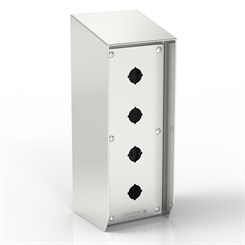 SR15-PB4/1-S316-22.5 | 15° Sloped Top Push-Button Enclosure with Removable Stand-Off Mounting Pillars