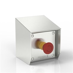 SR15-SC-ES-S316 | 15° Sloped Top Emergency Stop Enclosure with removable Stand-Off Mounting Pillars