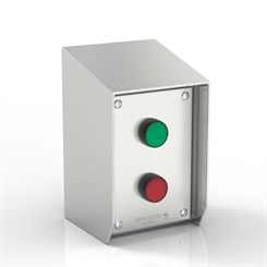 SR15-SC-I/O-S316 | 15° Sloped Top Stop & Start Enclosure with removable Stand-Off Mounting Pillars