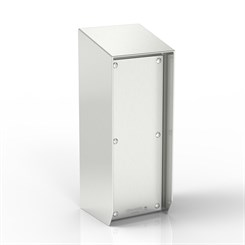SR15-TCE50-S316 | 15° Sloped Top Junction Box Enclosure with Removable Stand-Off Mounting Pillars